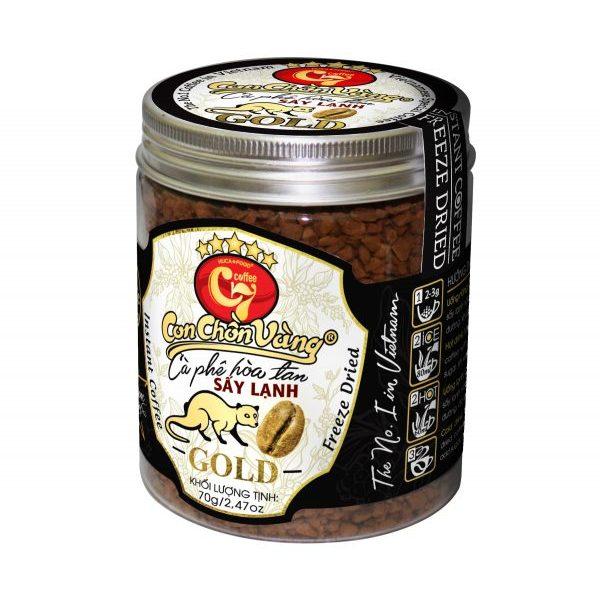 Cà Phê Hòa Tan Sấy Lạnh Con Chồn Vàng - Huca Food Hộp 70Gr